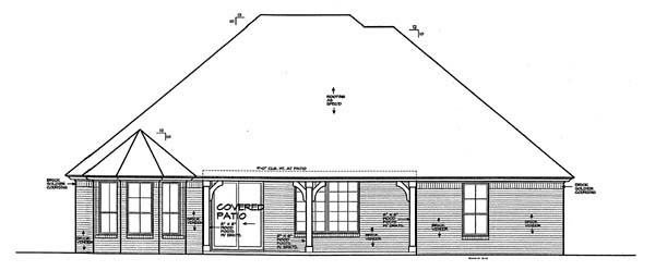 European House Plan 66262 Rear Elevation
