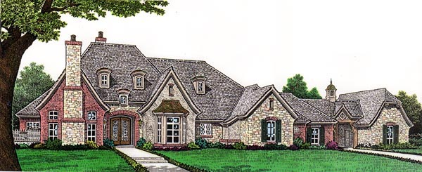 European House Plan 66263 with 4 Beds, 5 Baths, 4 Car Garage Elevation
