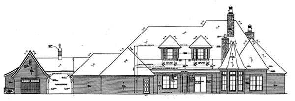 European House Plan 66263 Rear Elevation