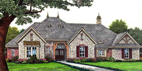 European House Plan 66264 with 3 Beds , 3 Baths , 2 Car Garage Elevation
