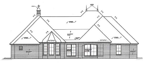 European House Plan 66264 with 3 Beds , 3 Baths , 2 Car Garage Rear Elevation