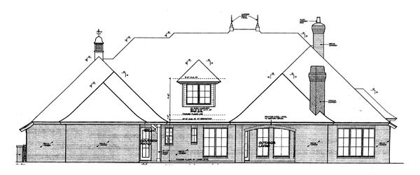 European Rear Elevation of Plan 66265