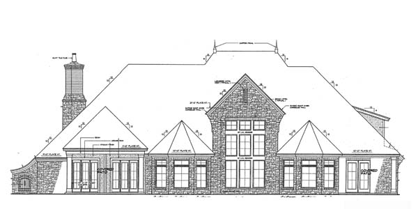 House Plan 66267 | European French Country Style Plan with 4392 Sq Ft, 4 Bedrooms, 4 Bathrooms, 3 Car Garage Rear Elevation
