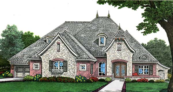 European House Plan 66269 with 3 Beds, 5 Baths, 2 Car Garage Elevation