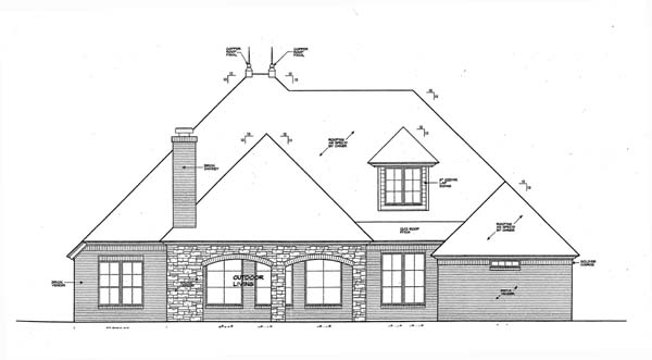 European House Plan 66269 with 3 Beds, 5 Baths, 2 Car Garage Rear Elevation