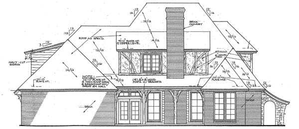 European French Country Rear Elevation of Plan 66271