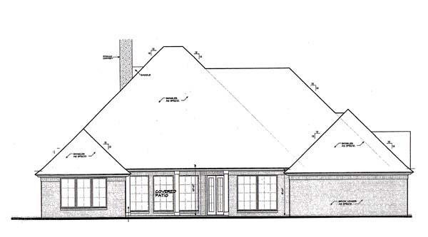 European House Plan 66273 Rear Elevation
