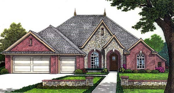 House Plan 66274 | European Style Plan with 2955 Sq Ft, 4 Bedrooms, 3 Bathrooms, 3 Car Garage Elevation