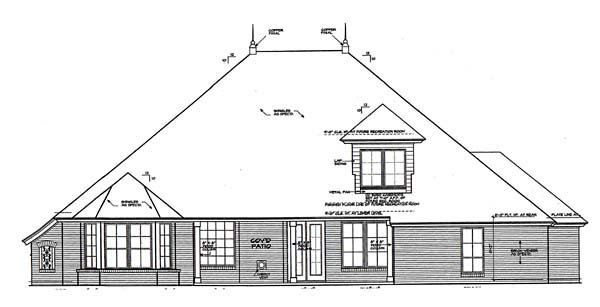 House Plan 66274 | European Style Plan with 2955 Sq Ft, 4 Bedrooms, 3 Bathrooms, 3 Car Garage Rear Elevation