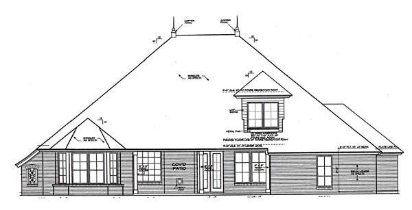 European House Plan 66274 Rear Elevation