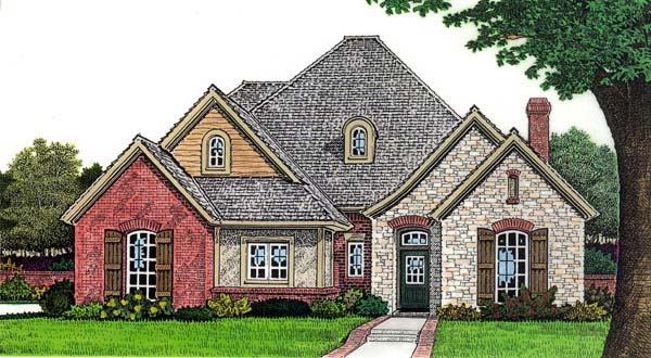 European House Plan 66275 with 3 Beds, 3 Baths, 2 Car Garage Elevation