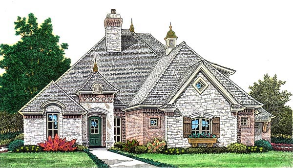 Country, European House Plan 66278 with 3 Beds, 4 Baths, 3 Car Garage Elevation
