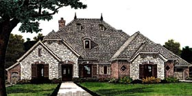House Plan 66281 | Country European Style Plan with 2812 Sq Ft, 4 Bedrooms, 4 Bathrooms, 3 Car Garage Elevation