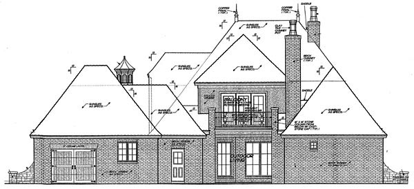 Country European House Plan 66282 Rear Elevation
