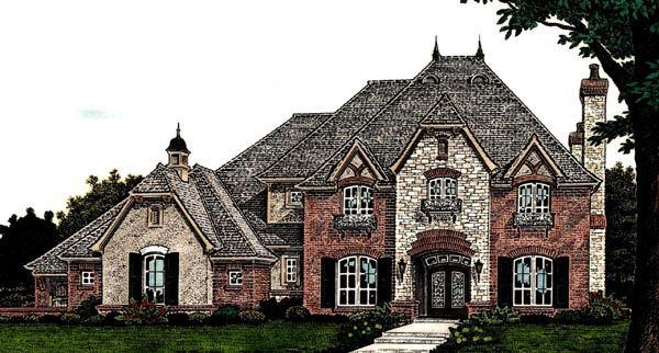 Country , European , French Country House Plan 66284 with 4 Beds, 4 Baths, 3 Car Garage Elevation