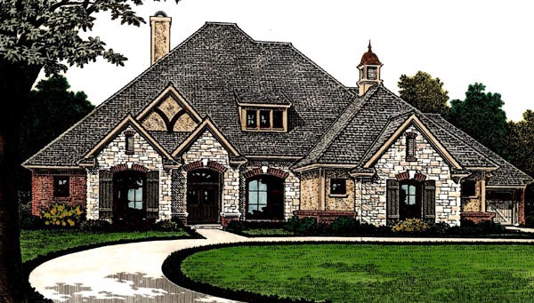 Country, European, French Country House Plan 66286 with 4 Beds, 4 Baths, 3 Car Garage Front Elevation