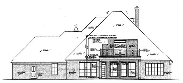 Country , European , French Country , Rear Elevation of Plan 66286