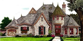 Country , European , French Country House Plan 66287 with 3 Beds, 3 Baths, 3 Car Garage Elevation