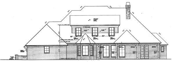 Country European Rear Elevation of Plan 66290
