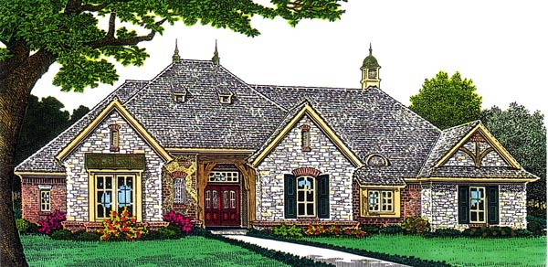 European House Plan 66295 with 3 Beds, 3 Baths, 3 Car Garage Elevation
