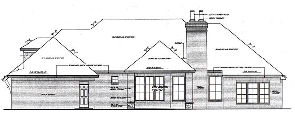 European House Plan 66297 Rear Elevation