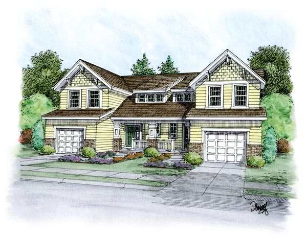 Traditional Multi-Family Plan 66400 Elevation