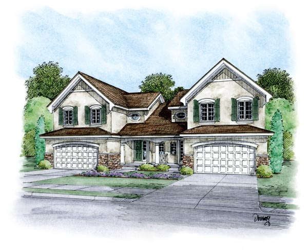 Multi-Family Plan 66402 | European Style Plan with 4004 Sq Ft, 8 Bedrooms, 6 Bathrooms, 4 Car Garage Elevation