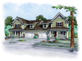 Traditional Multi-Family Plan 66403 Elevation