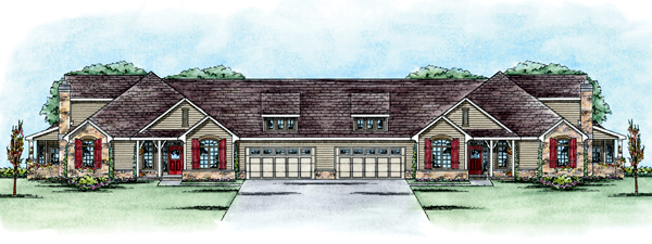 European Multi-Family Plan 66405 with 8 Beds, 12 Baths, 8 Car Garage Elevation
