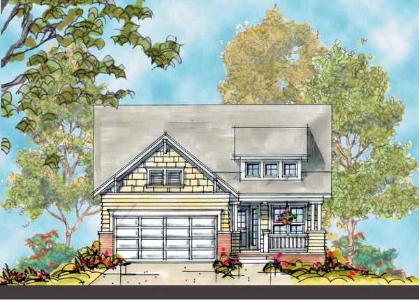 House Plan 66419 | Craftsman Style Plan with 1617 Sq Ft, 3 Bedrooms, 2 Bathrooms, 2 Car Garage Elevation