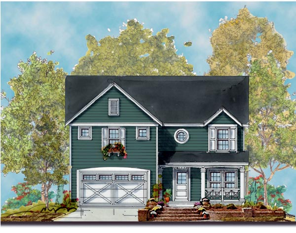 Traditional House Plan 66430 with 4 Beds, 3 Baths, 2 Car Garage Elevation