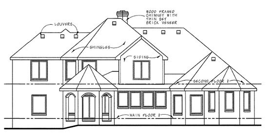 European House Plan 66433 Rear Elevation