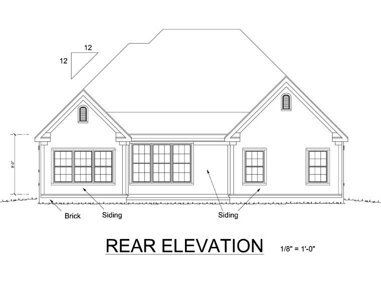 Traditional House Plan 66449 Rear Elevation