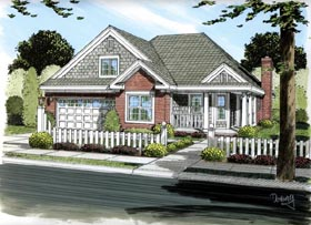 Traditional House Plan 66450 with 3 Beds, 2 Baths, 2 Car Garage Elevation