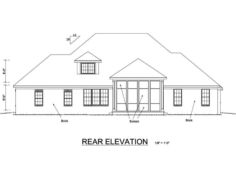 Traditional House Plan 66454 Rear Elevation