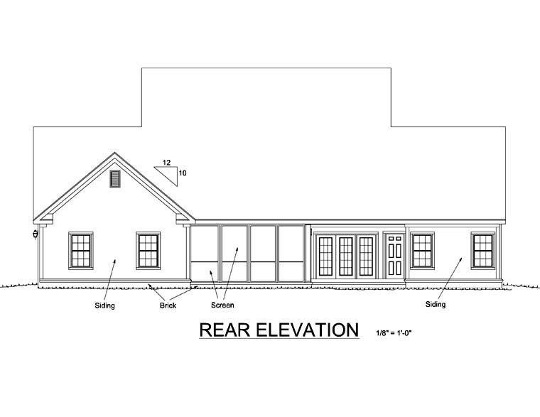 Traditional House Plan 66456 with 3 Beds, 3 Baths, 3 Car Garage Rear Elevation
