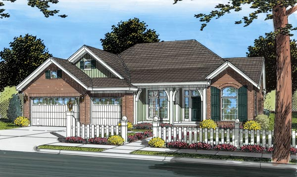 Southern , Traditional House Plan 66457 with 3 Beds, 2 Baths, 3 Car Garage Elevation