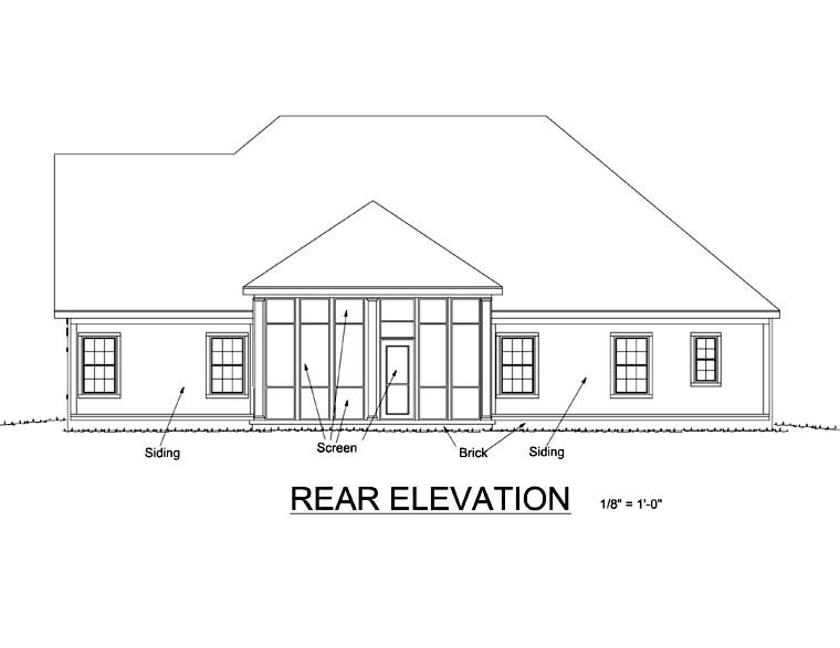 Southern , Traditional House Plan 66457 with 3 Beds, 2 Baths, 3 Car Garage Rear Elevation