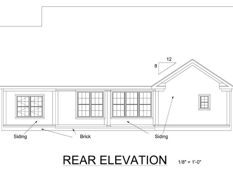 Traditional House Plan 66458 Rear Elevation