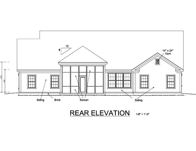 Country Traditional House Plan 66459 Rear Elevation