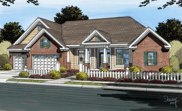 Traditional House Plan 66460 with 4 Beds, 4 Baths, 3 Car Garage Elevation