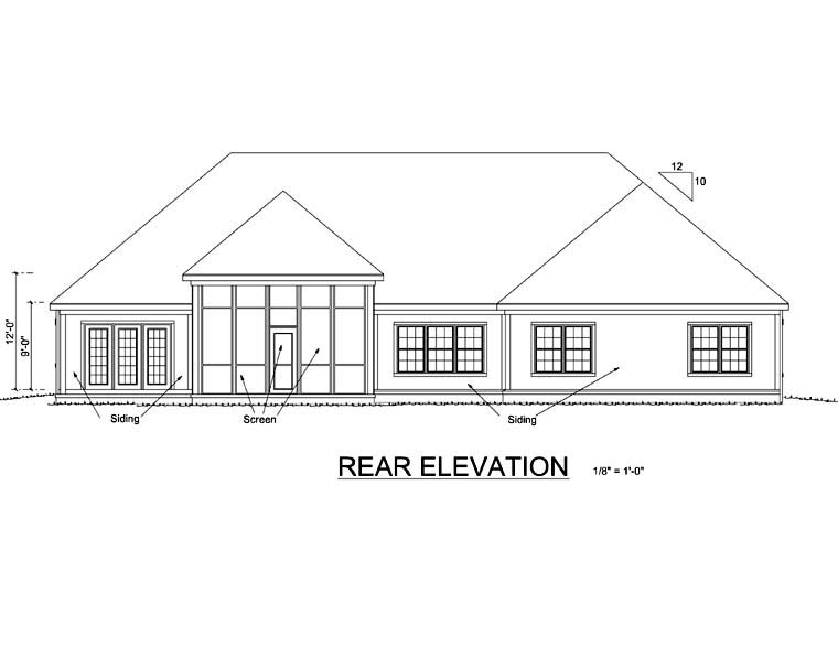 Traditional House Plan 66460 with 4 Beds, 4 Baths, 3 Car Garage Rear Elevation