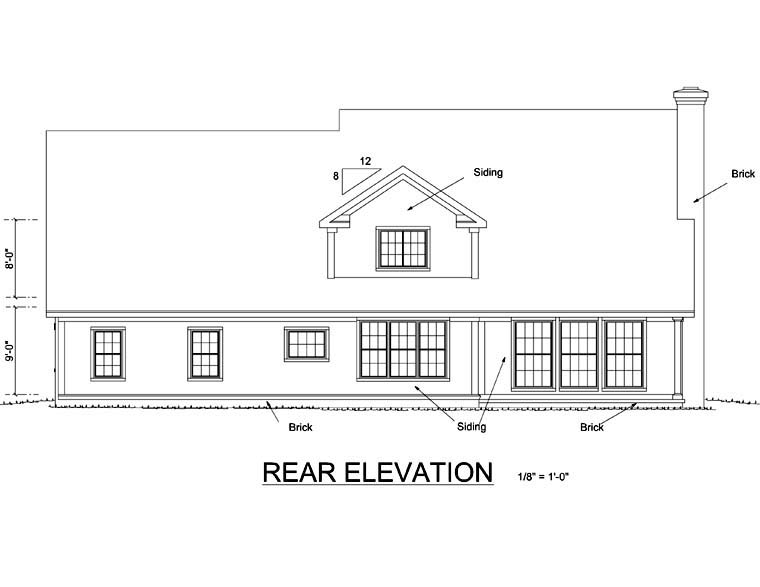 Traditional House Plan 66461 Rear Elevation