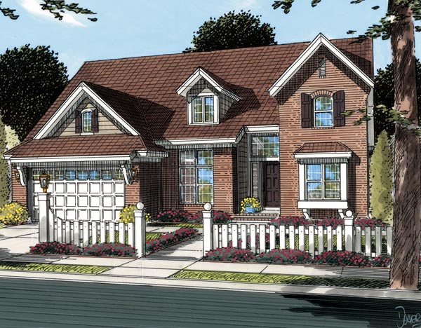 Traditional House Plan 66463 with 4 Beds, 4 Baths, 3 Car Garage Elevation