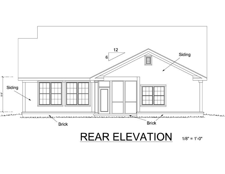 Cottage Craftsman Traditional House Plan 66464 Rear Elevation