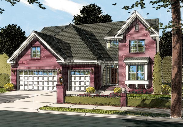 Traditional House Plan 66465 with 3 Beds, 3 Baths, 3 Car Garage Elevation