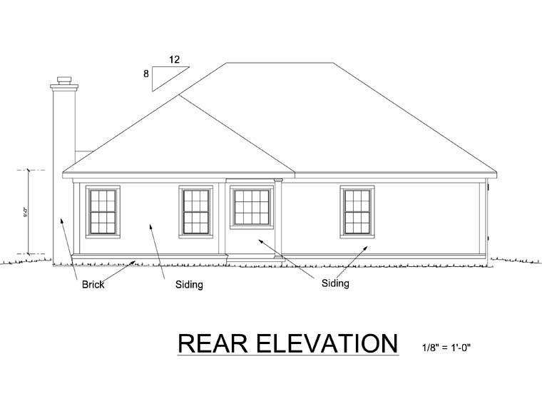 Bungalow Cottage Craftsman House Plan 66466 Rear Elevation