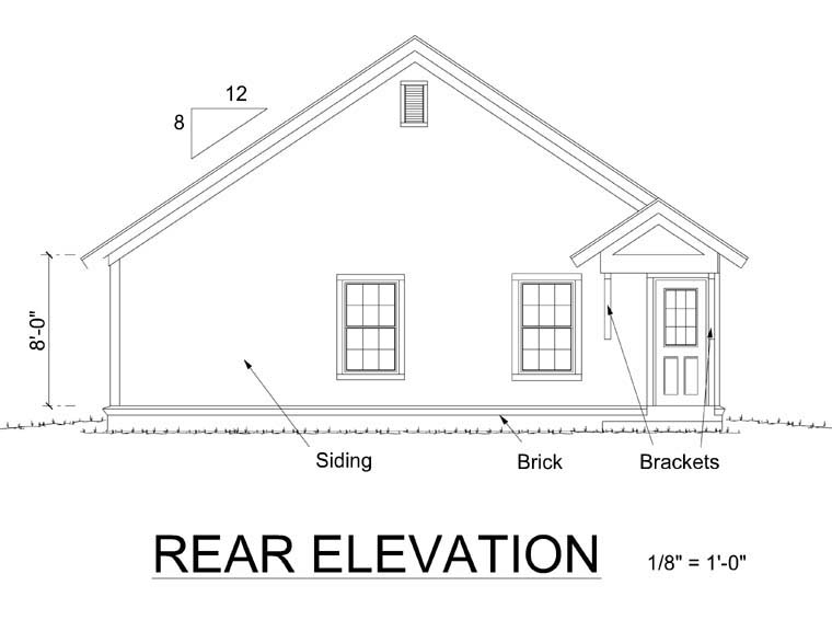Bungalow Craftsman Traditional House Plan 66468 Rear Elevation