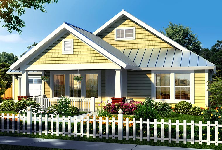 House Plan 66469 | Bungalow, Craftsman Style House Plan with 1260 Sq Ft, 3 Bed, 2 Bath, 2 Car Garage Elevation