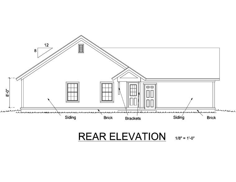 House Plan 66469 | Bungalow, Craftsman Style House Plan with 1260 Sq Ft, 3 Bed, 2 Bath, 2 Car Garage Rear Elevation